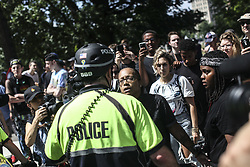 August 19, 2017 - Boston, Massachusetts, United States - Counter protesters swarm a Free Speech Rally at Boston Common in Boston, on Saturday, August 19, 2017. Credit: Byron Smith (Credit Image: © Byron Smith via ZUMA Wire)