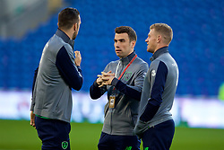 CARDIFF, WALES - Monday, October 9, 2017: Republic of Ireland's Seamus Coleman and James McClean on the pitch before the 2018 FIFA World Cup Qualifying Group D match between Wales and Republic of Ireland at the Cardiff City Stadium. (Pic by Paul Greenwood/Propaganda)