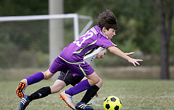 04 October 2015. Mandeville, Louisiana.<br /> New Orleans Jesters Youth Academy.<br /> U10 team purple take on Mandeville Black. Jesters emerge victorious.<br /> Photo©; Charlie Varley/varleypix.com