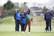 4th October 2017, The Old Course, St Andrews, Scotland; Alfred Dunhill Links Championship, practice round; Actor Jamie Dornan tees off on the eighteenth hole on the Old Course, St Andrews during a practice round before the Alfred Dunhill Links Championship