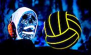 Glowing skull with waterloo cap and glowing waterloo ball.Black light