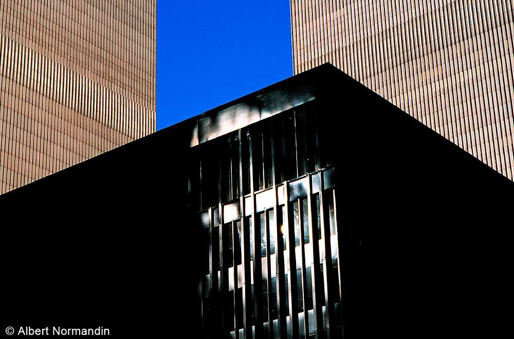 World Trade Center towers and black office building