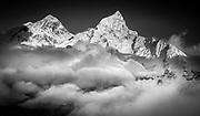 Chomolungma, Mt Everest, ( left) and Nuptse at sunset from Kala Pattar, Khumbu Himal, Nepal