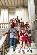 Cuban students on a school field trip pose for a photo inside the Museum of the Revolution (Museo de la Revolución). The building, inaugurated in 1920, had served as the Presidential Palace until the Cuban Revolution. (December 4, 2014)