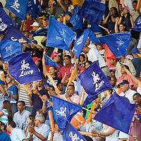 10 january 2006: Fans of Baseball team Licey waive flags at Estadio Quisqueya, Santo Domingo, Dominican Republic.