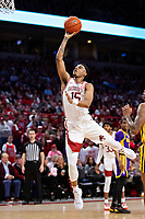 FAYETTEVILLE, AR - MARCH 4:  Mason Jones #15 of the Arkansas Razorbacks goes up for a shot during a game against the LSU Tigers at Bud Walton Arena on March 4, 2020 in Fayetteville, Arkansas.  The Razorbacks defeated the Tigers 99-90.  (Photo by Wesley Hitt/Getty Images) *** Local Caption *** Mason Jones