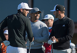 January 27, 2017 - San Diego, Calif, USA - Jason Day, Tiger Woods and Dustin Johnson prepare to tee off during the second day of the Farmers Insurance Open golf tournament at Torrey Pines in San Diego, Calif. on Friday, January 27, 2017. (Photo by Kevin Sullivan, Orange County Register/SCNG) (Credit Image: © Kevin Sullivan/The Orange County Register via ZUMA Wire)