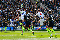 BRIGHTON, ENGLAND - MAY 12:    Glenn Murray (17) of Brighton and Hove Albion heads the ball in the city box during the Premier League match between Brighton & Hove Albion and Manchester City at American Express Community Stadium on May 12, 2019 in Brighton, United Kingdom. (MB Media)