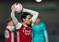 LONDON, ENGLAND - Friday, October 30, 2020: Arsenal's Joel Lopez Salguero takes a throw-in during the Premier League 2 Division 1 match between Arsenal FC Under-23's and Liverpool FC Under-23's at Meadow Park. Liverpool won 1-0. (Pic by David Rawcliffe/Propaganda)