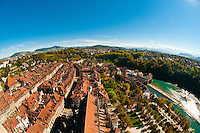 Overview of the medieval city center of Bern, Canton Bern, Switzerland