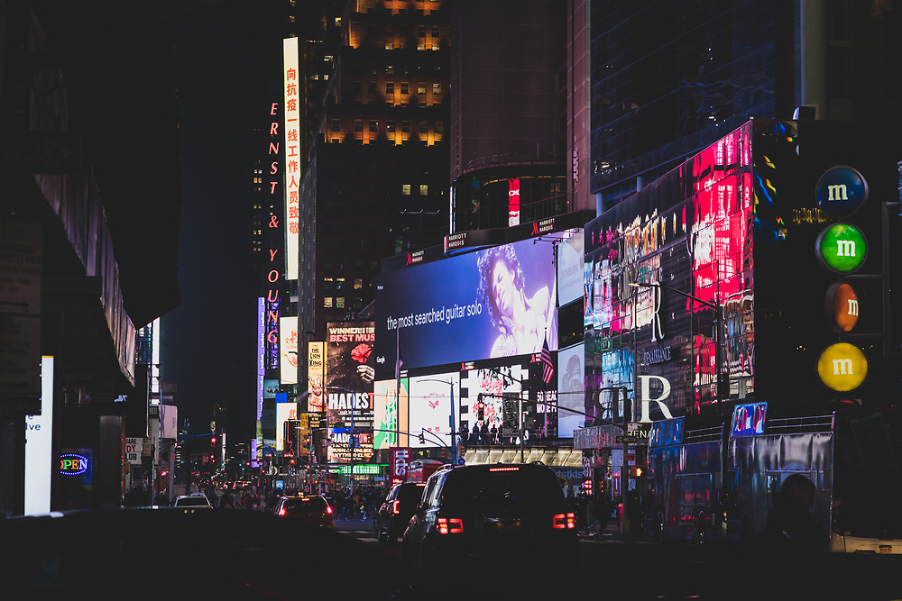 The plethora of billboards lighting the streetscape of Times Square.