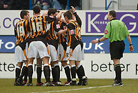 Photo: Leigh Quinnell.<br /> Luton Town v Hull City. Coca Cola Championship. 04/02/2006. Hull players celebrate after Darryl Duffys goal.