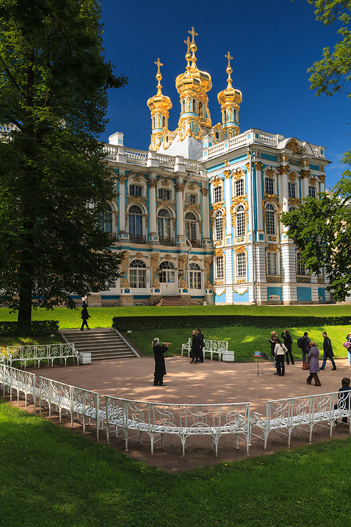 The Catherine Palace  is a Rococo palace located in the town of Tsarskoye Selo (Pushkin), 25 km south-east of St. Petersburg, Russia. It was the summer residence of the Russian tsars.