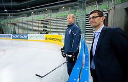 Assistant coach Nik Zupancic and Matjaz Rakovec, president of HZS during first practice session of Slovenian National Ice Hockey team in Arena Stozice before 2012 IIHF World Championship DIV I Group A in Slovenia, on April 13, 2012, in Arena Stozice, Ljubljana, Slovenia. (Photo by Vid Ponikvar / Sportida.com)