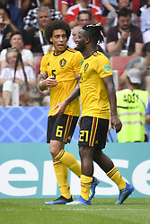 June 23, 2018 - Moscow, Russia - Michy Batshuayi and Axel Witsel of Belgium celebrate scoring during the 2018 FIFA World Cup Group G match between Belgium and Tunisia at Spartak Stadium in Moscow, Russia on June 23, 2018  (Credit Image: © Andrew Surma/NurPhoto via ZUMA Press)