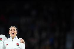 Sarah Hunter of England sings the national anthem - Mandatory byline: Patrick Khachfe/JMP - 07966 386802 - 26/11/2016 - RUGBY UNION - Twickenham Stadium - London, England - England Women v Canada Women - Old Mutual Wealth Series.
