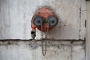 Gas pipe outlet with a face, London, UK.