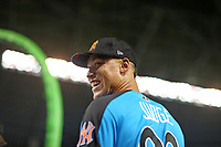 New York Yankees' Aaron Judge smiles as he competes during the MLB baseball All-Star Home Run Derby, Monday, July 10, 2017, in Miami<br /> ( Photo/Tom DiPace)