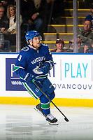 KELOWNA, BC - SEPTEMBER 29: Brendan Leipsic #9 of the Vancouver Canucks skates against the Arizona Coyotes  at Prospera Place on September 29, 2018 in Kelowna, Canada. (Photo by Marissa Baecker/NHLI via Getty Images)  *** Local Caption *** Brendan Leipsic;