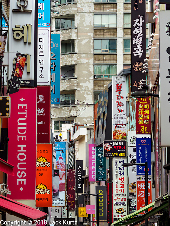 10 JUNE 2018 - SEOUL, SOUTH KOREA: An alley off of Myeong-dong.    PHOTO BY JACK KURTZ