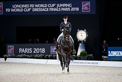 VON BREDOW-WERNDL Jessica (GER), UNEE BB<br /> Paris - FEI World Cup Finals 2018<br /> FEI World Cup Dressage Freestyle/Kür<br /> www.sportfotos-lafrentz.de/Stefan Lafrentz<br /> 14. April 2018