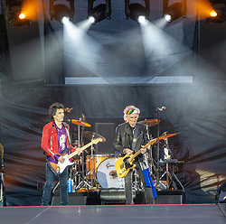Ronnie Wood and Keith Richards of The Rolling Stones performs on stage at Murrayfield Stadium in Edinburgh, Scotland.