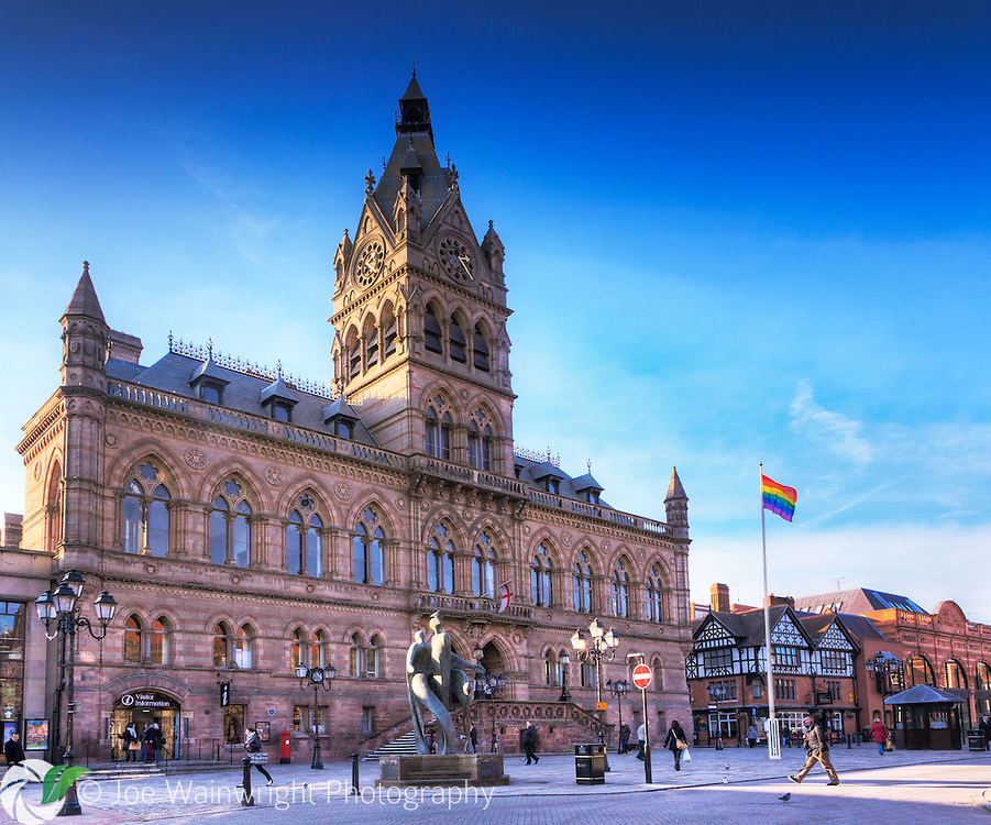 Officially opened in October 1869 by the Prince of Wales, Chester Town Hall is built in Gothic Revival style of buff and pink sandstone.