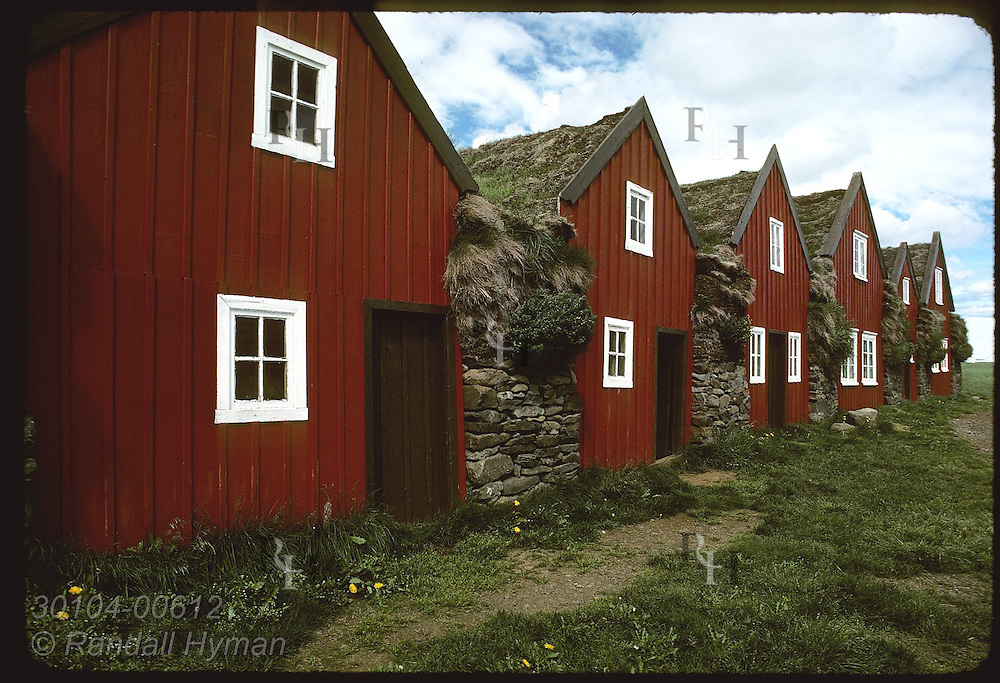 Row-house construction was typical of turf farms in Iceland even into 1900s; Burstafell museum Iceland
