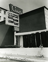 1955 French Actress, Brigette Auber, takes a photo of Ciro's Nightclub in West Hollywood