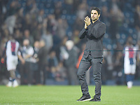 Football - 2021 / 2022 EFL Carabao Cup - Round Two - West Bromwich Albion vs Arsenal - The Hawthorns - Wednesday 25th August 2021.<br /> <br /> Arsenal head coach Mikel Arteta salutes the fans after their 6-0 victory.<br /> <br /> COLORSPORT/Ashley Western