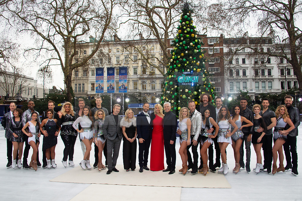 © Licensed to London News Pictures. 18/12/2018. London, UK. Christopher Dean, Jayne Torvill, Jason Gardiner, Holly Willoughby and Phillip Schofield with Didi Conn and Lukasz Rozycki, Richard Blackwood and Carlotta Edwards, Gemma Collins and Matt Evers, Saara Aalto and Hamish Gaman, Brianne Delcourt, James Jordan and Alexandra Schauman, Ryan Sidebottom and Brandee Malto, Melody Thornton and Alexander Demetriou, Wes Nelson and Vanessa Bauer, Jane Danson and Sylvain Longchambon, Brian McFadden and Alex Murphy attends a photocall for the launch of ITV's Dancing On Ice new series. Photo credit: Ray Tang/LNP