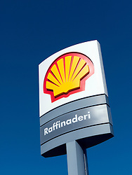 Detail of sign at Royal Dutch Shell oil refinery in Gothenburg Sweden