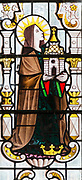 Saint Edith stained glass window 1952  by Harry Stammers ( 1902-1969) church of Saint Mary, Wilton, Wiltshire, England, UK