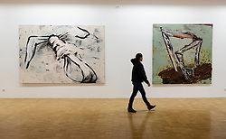 Untitled paintings by Dieter Krieg at Light Box modern art museum at Bomann Museum in Celle, lower Saxony, Germany
