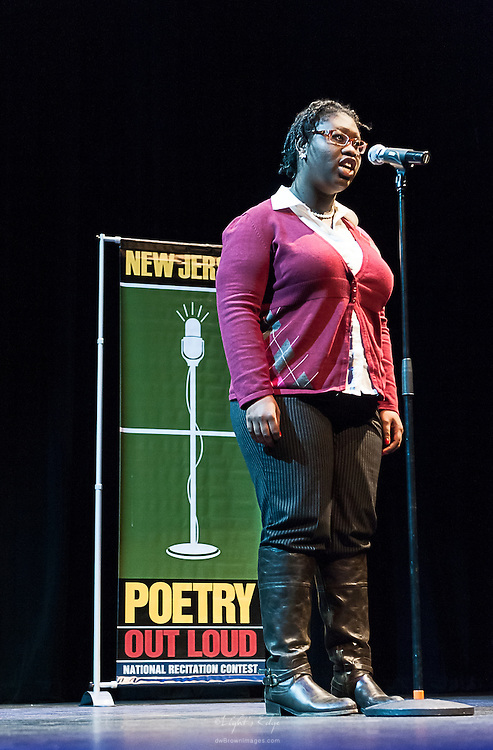 Aliyah Salomon, a contestant in The  Poetry Out Loud, Regional 5,  competition at SOPAC.