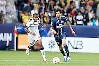 FOOTBALL - FRENCH CHAMPIONSHIP 2012/2013 - L1 - PARIS SAINT GERMAIN VS SOCHAUX - 29/09/2012 - JAVIER PASTORE (PARIS SAINT-GERMAIN), CEDRIC BAKAMBU (SOCHAUX)