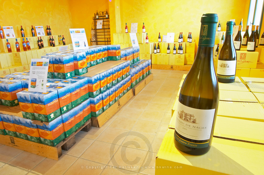 bag-in-box displays and bottle wine shop chateau de nages rhone france