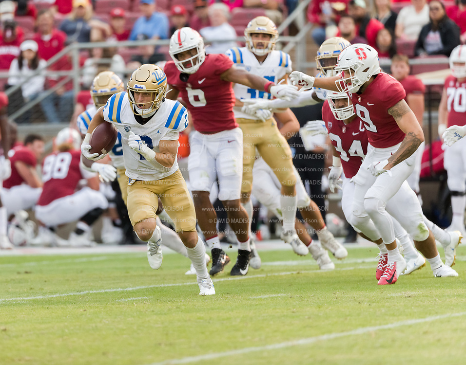 PALO ALTO, CA - SEPTEMBER 26:  Kyle Phillips #2 of the UCLA Bruins carries the ball during an NCAA Pac-12 college football game against the Stanford Cardinal on September 26, 2021 at Stanford Stadium in Palo Alto, California.  (Photo by David Madison/Getty Images)