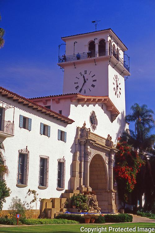 Entrance to the Santa Barbara County Courthouse in the city of Santa Barbara
