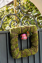 December 21, 2017 - Charleston, South Carolina, United States of America - A wrought iron gate with a square Christmas wreath at a historic home on Tradd Street in Charleston, SC. (Credit Image: © Richard Ellis via ZUMA Wire)