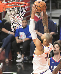 October 21, 2017 - Los Angeles, California, U.S - Milos Teodosic #4 of the Phoenix Suns goes for a dunk during their first regular season game against the Los Angeles Clippers on Saturday October 21, 2017 at the Staples Center in Los Angeles, California. Clippers defeat Suns, 130-88. (Credit Image: © Prensa Internacional via ZUMA Wire)