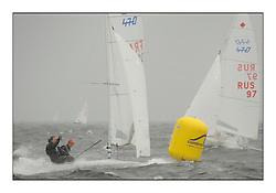 470 Class European Championships Largs - Day 2.Wet and Windy Racing in grey conditions on the Clyde...FRA39, Maelenn Lema?tre, Aloise Retornaz, E.v.locquirec...