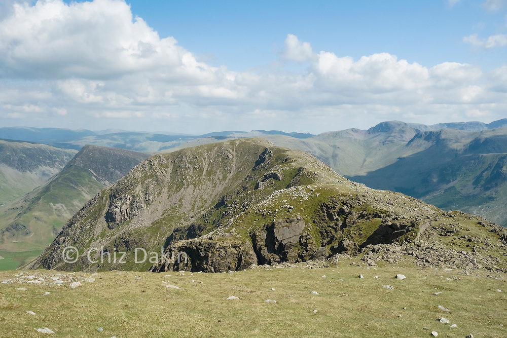 The impressive curving spine of the ridgeline to High Crag from High Stile