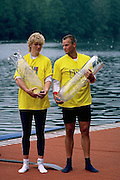 FISA World Cup 1990's, at Lucerne International Regatta, Lake Rotsee, Lucerne SWITZERLAND and Henley Royal Regatta..Thomas Lange [right] and Beata Schramm.[Former DDR Athletes].FISA World cup events Lucerne and HRR Pictures from the first World Cup events, Men's and Women's singles 1990/91 FISA World Cup Lucerne and