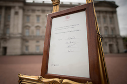 A notice placed on an easel in the forecourt of Buckingham Palace in London to formally announce the birth of a baby boy to the Duke and Duchess of Cambridge at St Mary's Hospital.