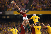 MELBOURNE, 29 JUNE - Geoff PARLING of the Lions reaches for the ball during the Second Test match between the Australian Wallabies and the British & Irish Lions at Etihad Stadium on 29 June 2013 in Melbourne, Australia. (Photo Sydney Low / asteriskimages.com)