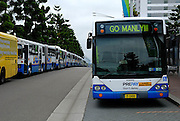 Some of the hundreds of buses waiting for the crowd watching the 2008 Rugby League Grand Final at Sydney Olympic Stadium. Many buses showed signs of their support for the local side, Manly. Sydney, Australia