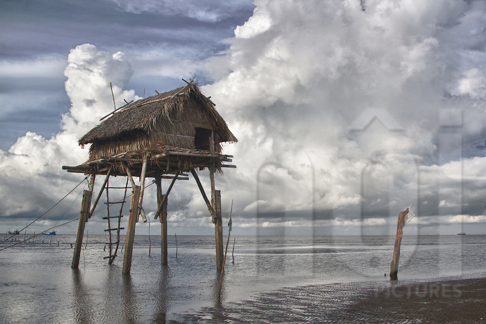 Fisherman's shack on stilts along a beach in Can Gio, Vietnam, Southeast Asia