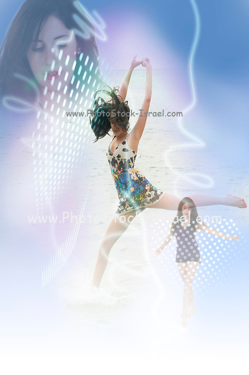 Digitally enhanced composite image of a young woman losing balance On white Background