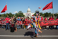 Mother Earth's Red Line Action in front of the Capitol on April 28, the day before the Climate March.